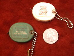 Pair Of Vintage Advertising Feed Company Key Ring Fobs, Purina Chow, Ark/ohio