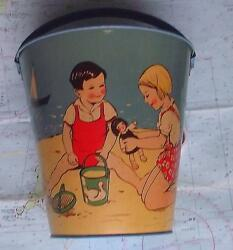 C1950 Tinplate Seaside Sand Pail Bucket Made In Germany Children Pond Yachts