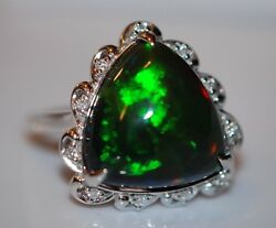 Nwt 8.24 Carat Black Opal Surrounded By Diamonds Ring In 14 White Gold Size 7