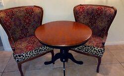 Rare Set Of 1920 Antique Texas Twins Treasures Queen Anne Wing Back Chairs