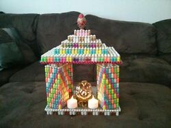 Artistic Temple Made From Tiny Glass Bottles Colorful Ganesh Deity Auspicious