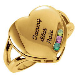 10k Solid Gold Motherand039s Family Ring 1 To 4 Birthstones Childrenand039s Names Engraved