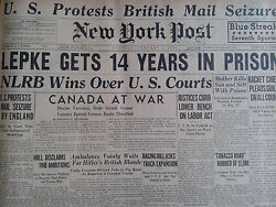 1-1940 January 2 Lepke Gets 14 Years In Prison Pleads Guilty On All Counts