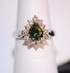 Nwt Pear Shaped Green Sapphire Ring W/ .60 Ctw Diamonds In 14k White Gold Sz6.75