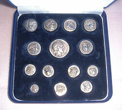 Very Rare Collection 14 Ancient Greek Coins Pure Silver 950 Only 1490 Copies