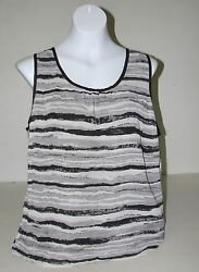 NWT Womens FYLO BlackWhite Striped Sheer Overlay Tank Top Open Back Sz L Large