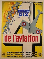 Original Vintage French Movie Poster Advertising 4 De L'aviation By Brunyer