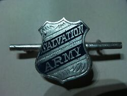 Vintage Sterling Silver Salvation Army Shield Pin Uniform Badge Blue Lettering