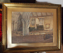 Church Interior Fine And Old Water Color By Listed Artist D.c.mackinlay