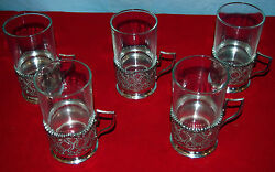 84 Silver Set Of 5 Tea Cup Holders Lion Stamp By Mozafarian- 517gr Middle East