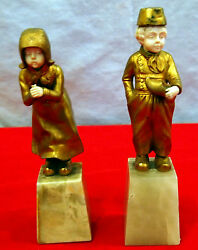 Dutch Pair Of Cute Girl And Boy Bronze And Hand-carved Faces And Hands 19 C On Marbles