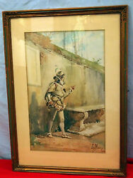 L.meir 19 C Italian Cavalier With Sword 19 C Water Color Signed Fine Details