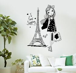 Wall Decal Pretty Teen Girl Paris Woman France Shopping Vinyl Stickers Ig3040