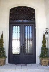 Hand-Crafted 12 Gauge Wrought Iron Entry Door by Monarch Custom