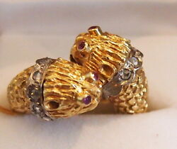 Ring Vicious Animal Heads Rare Design18kt Goldruby And Diamonds-gorgeous -18.4 G