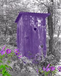 Purple And Gray Home Decor Wall Art Photo Print Vintage Outhouse Bathroom Picture