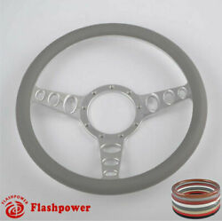 14and039and039 Billet Steering Wheel Light Gray Wrap Muscle Car Gm Gto Firebird Bonneville