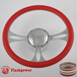 14and039and039 Billet Steering Wheels Red Half Wrap Muscle Car Thunderbird Mustang Gm Gto