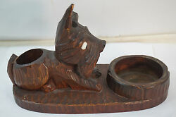 ANTIQUE SKYE TERRIER DOG MATCH CIGARETTE HOLDER ANRI WOOD CARVING CARVED