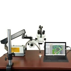 2.1x-270x 5mp Digital Zoom Stereo Articulating Microscope 150w Ring+dual Lights