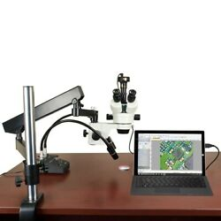 2.1x-180x 9mp Digital Zoom Stereo Articulating Stand Microscope W 6w Led Light
