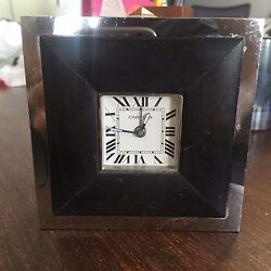 Stainless Steel Travel Desk Clock With Alarm And Wood Detail