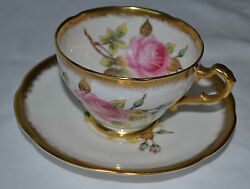 VINTAGE ROYAL ADDERLEY TEA CUP WITH SAUCER ENGLISH BONE CHINA HEAVY GOLD
