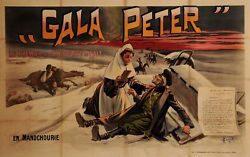 Original Vintage French Oversize Poster For Gala Peter Chocolate 1905