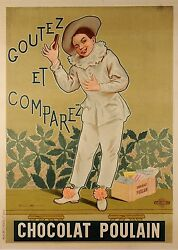 Original Vintage French Poster For Chocolat Poulain By Alphonse Marx 1904