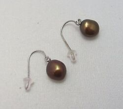 New Honora Freshwater Cultured Pearl Drop Earrings Sterling Silver 925 Brown