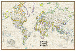 World Classic Executive Wall Map Poster 36quot;x24quot; Rolled Paper 2020