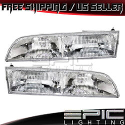 1992-1997 Ford Crown Victoria Headlights Headlamps - Left Right Sides Pair