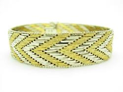 18k Yellow & White Gold Basket Weave Design Diamond Cut Italian Made Bracelet