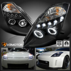Black For 2003 2005 Nissan 350Z LED DRL Halo Projector Headlights LeftRight $198.38