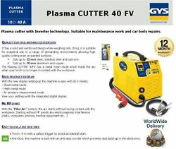 Gys Inverter Tecnology 1 Phase Plasma Cutter + Torch 15mm Steel Stainless Iron