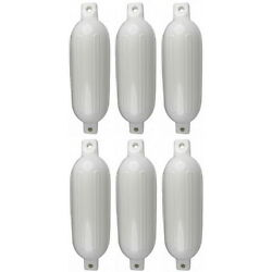 6 Pack 8-1/2 Inch X 27 Inch Double Eye White Inflatable Vinyl Fenders For Boats