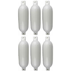 6 Pack 6-1/2 Inch X 23 Inch Double Eye White Inflatable Vinyl Fenders For Boats