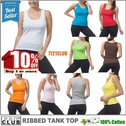 WOMENS Ribbed Tank Tops A-Shirt Sleeveless PROCLUB Cami Yoga Top Underwear S-3XL