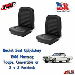 Front Bucket Seat Upholstery Black Fits 1966 Mustang All Models In Stock Tmi