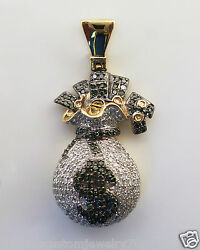 New Men's MONEY-BAG Design Pendant Charm 1.10CT Genuine Diamond 10K Yellow Gold