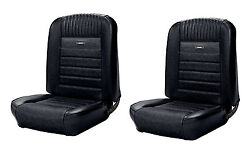 Deluxe Pony Seat Upholstery Black 1964 - 1966 Ford Mustang Coupe F/r In Stock