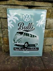 Volkswagen Samba Bus T1 Bulli - Vw Large Metal Wall Sign - Made In Germany