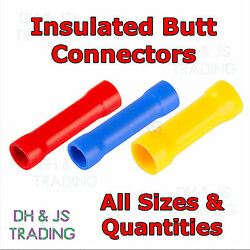 Insulated Straight Butt Connectors - Electrical Crimp Terminals Wire Cable