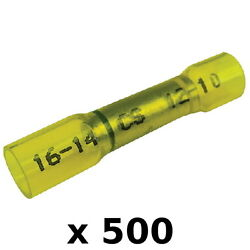 500 Pack 12-10 Awg To 16-14 Awg Step Down Heat Shrink Butt Connector Terminals