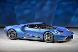 2016 Ford Gt Super Car Blue Side View Poster 24 X 36 Inch High Quality Paper
