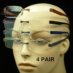 Reading glasses men women 4 pair lot lens strength rimless power pack new $9.95