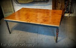 Custom Made Coffee Table . 19th C New Orleans Cast Iron Legs. 52 X 3ft Top