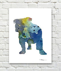 Blue Bulldog Abstract Watercolor Painting Art Print by Artist DJ Rogers