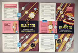 Hampden Watch 4-page Catalog Ad Page - 1957 Wristwatch Watches
