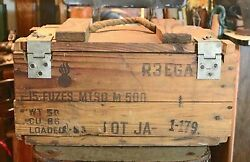 Vintage Wooden Ammo Crate With Rope Handle And Metal Latches / Detonating Fuzes